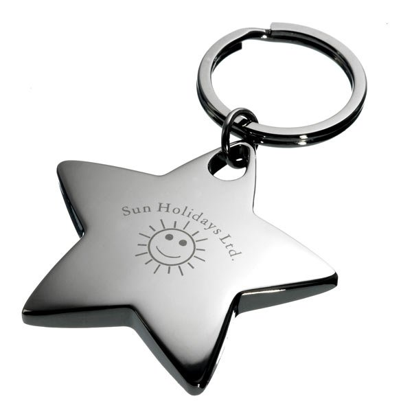 Solid Star shaped keyring available in satin or gloss silver, complete with split ring fitting and laser engraved to your logo in superb detail.