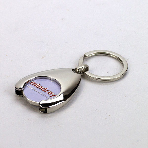 Wishbone shaped nickel plated trolley key ring